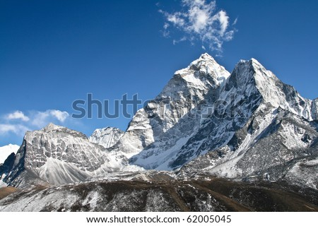 View of Ama Dablam mountain, Khumbu glacier, Nepal - stock photo