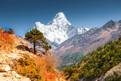 View of Ama Dablam peak in Himalaya mountains, Nepal. Everest Base Camp trek. Beautiful autumn landscape
