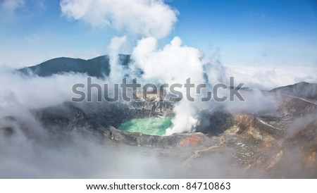 View of an active volcano in Costa Rica, Volcan Poas