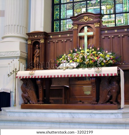 View of an altar at a church in the U. S. Naval Academy