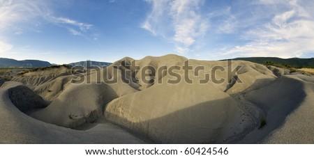 view of an arid landscape around the reservoir Yesa, saragossa, Aragon, Spain