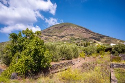 View of an extinct volcano on the island of Salina in Sicily