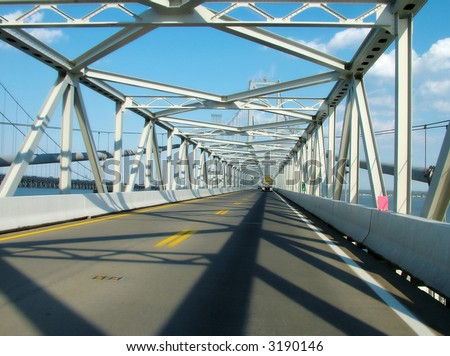 View of an inside of the famoous four-mile long Chesapeake bay bridge, one of the longest and most scenic bridges in the world