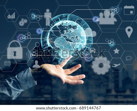 View of an International business network connection displayed on a futuristic interface with technology icon and sphere globe - Worldwide business concept #689144767