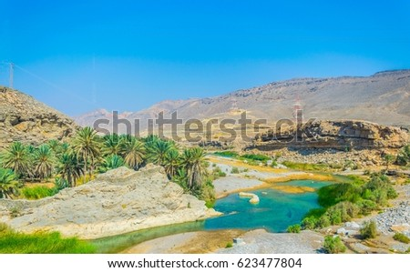 View of an oasis and a village under the Hajar mountains range in Oman.