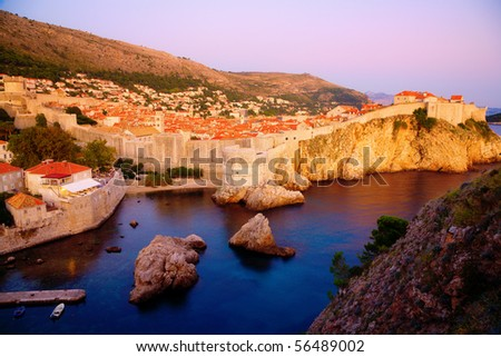 View of an old city of Dubrovnik and the city wall - stock photo