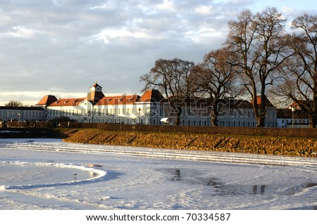 view of an old european royal mansion called Nymphenburg in Munchen