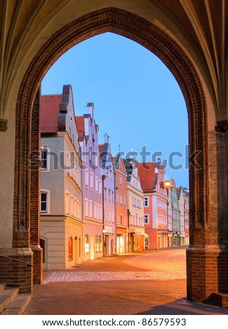 View of an old street in german town near Munich
