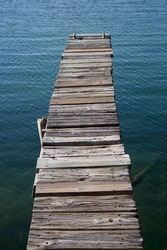 View of an old weathered boat dock