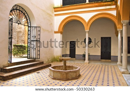 view of an typical andalusian patio in Spain