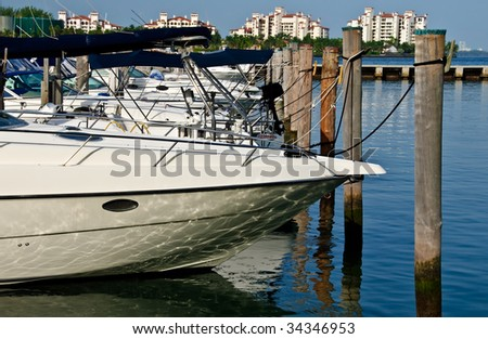 View of anchored boats in a marina, near Miami, Florida.