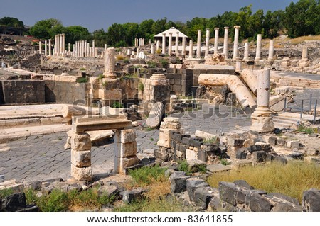 View of ancient Beit Shean city. Israel.