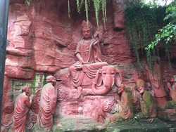 View of Ancient Chinese Buddha Rock Carvings in Mount Emei, China