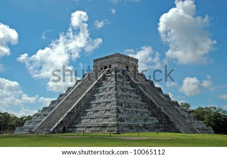 View of Ancient Mayan Pyramid at Chichen Itza