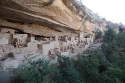 View of Ancient Pueblo Cliff Dwelling Cliff Palace in Mesa Verde National Park of Colorado, USA