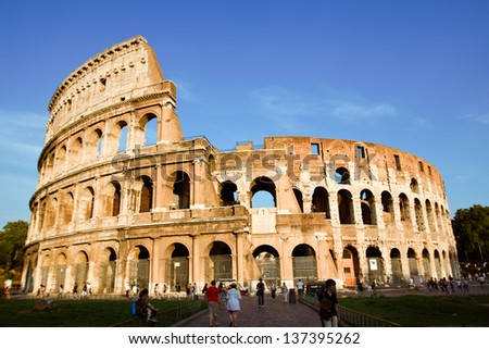 View Of Ancient Rome Coliseum Ruins. Italy. Rome.