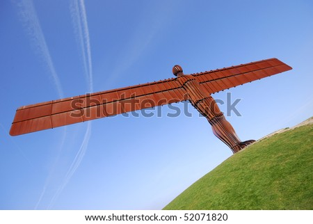 View of Angel of the North statue, near Gormley, Gateshead, UK.