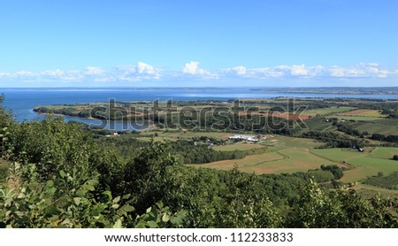 View of Annapolis Valley and the Bay of Fundy from The Lookoff on North Mountain, Nova Scotia, Canada.