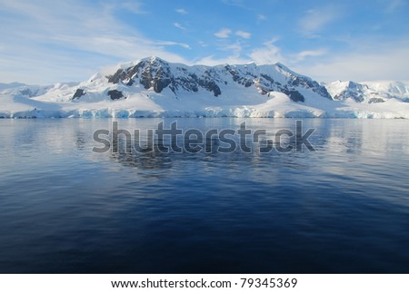 view of antarctic peninsula over the ocean