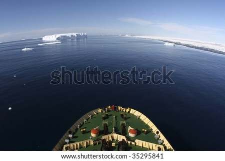 View of Antarctica from the bow of a Russian icebreaker on Antarctica