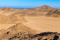 View of Arabian desert and mountain range Red Sea Hills in Egypt
