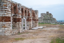 View of archaeological site of Ainos or Aenus; byzantine temple of Agia Sofia. A major greek city of classical, roman, apostolic and byzantine ages. Modern name: Enez. Edirne Province. Thrace. Turkey.