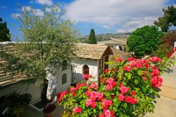 View of Archangel (or Saint) Michael Monastery and gardens, Thassos island, Greece