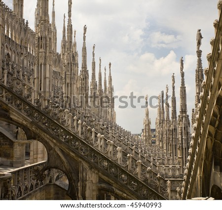 View of architectural detail of Duomo di Milano roofs