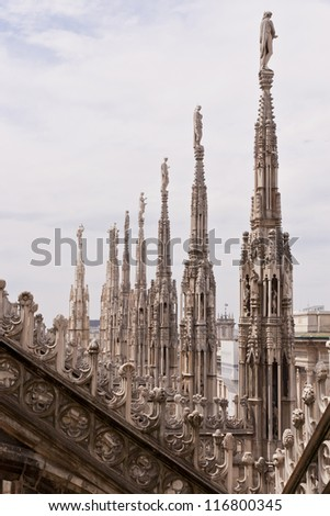 View of architectural details of Duomo di Milano roofs