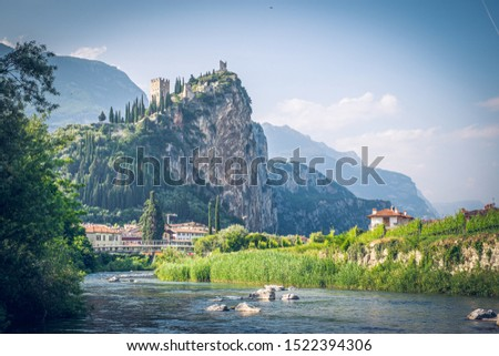 View of Arco Castle located on a prominent spur high above Arco and the Sarca Valley in Trentino, northern Italy. Foto d'archivio ©