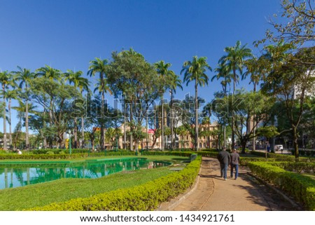 View of artificial lake and buildings in the vicinity of Praça da Liberdade, in the city of Belo Horizonte, Brazil
