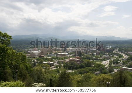 View of Asheville, North Carolina on a beautiful day