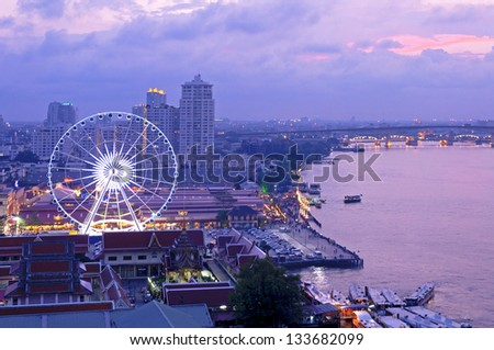 View of Asiatique against Chao Phraya river at twilight, Bangkok, Thailand
