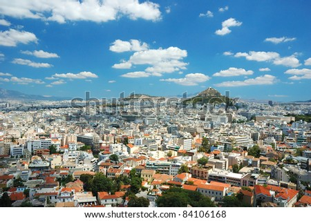 View of Athens roofs and Mount Lycabettus from Acropolis hill,Greece - stock photo