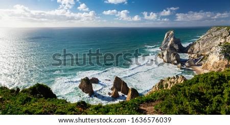View of Atlantic Coast at Portugal, Cabo da roca. Summer day, panorama Foto stock ©