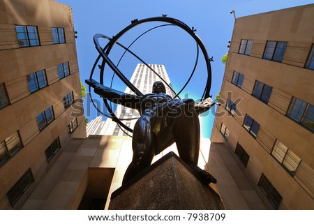 View of Atlas statue and Rockefeller center seen from below