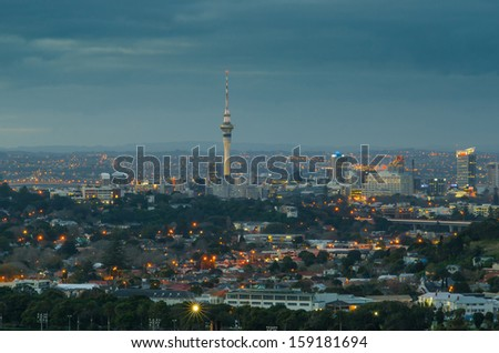 View of Auckland skyline from One Tree Hill