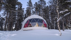 View of aurora domes in a baloon shape ready to see northern lights at daytime