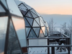 View of aurora domes in a baloon shape ready to see northern lights. Polar night on the sver