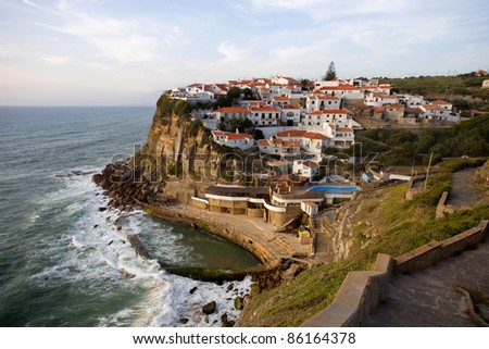 View of Azenhas do Mar, located on the cliffs near Sintra, Portugal.