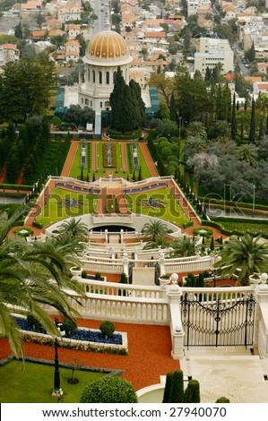view of Baha'i Temple,  sepulcher of Baba, founder of baha'ism, Haifa, Israel