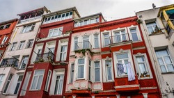 View of Balat houses / homes which is a historic district in Istanbul in Marmara region, Turkey. Traditional Ottoman houses in Istanbul's European side.