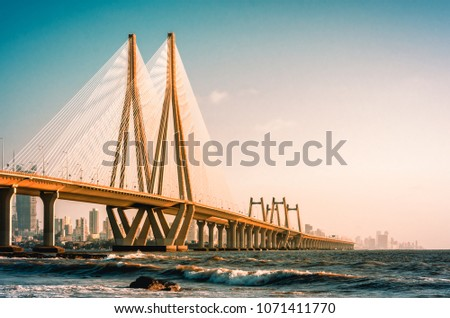 View of Bandra Worli Sea link, Mumbai #1071411770