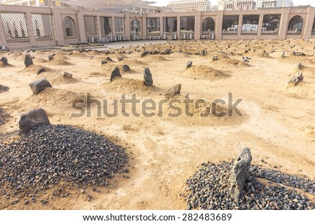 View of Baqee' Muslim cemetary at Masjid (mosque) Nabawi in Al Madinah, Kingdom of Saudi Arabia.