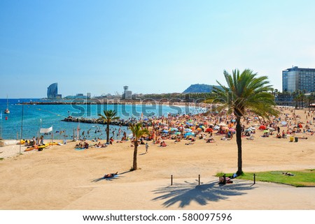 Shutterstock View of Barcelona beach on a summer day