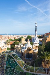 View of Barcelona from Park Guell in a summer day.