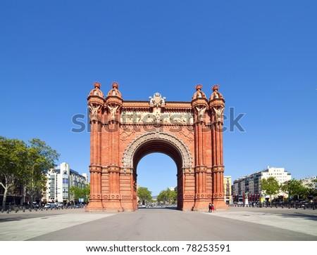 View of Barcelona, Spain. Arc de Triomf