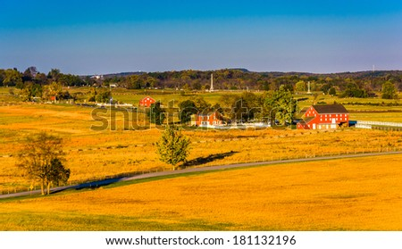 View of barns and farm fields from Longstreet Observation Tower in Gettysburg, Pennsylvania.