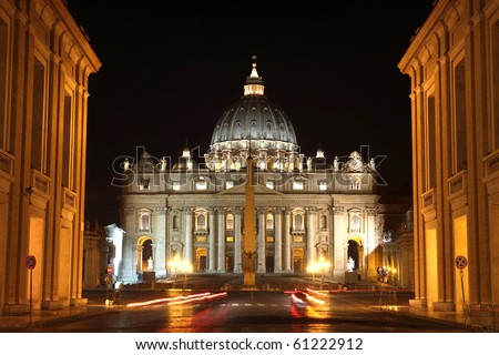 view of Basilica di San Pietro, night,Vatican City in Rome, Italy