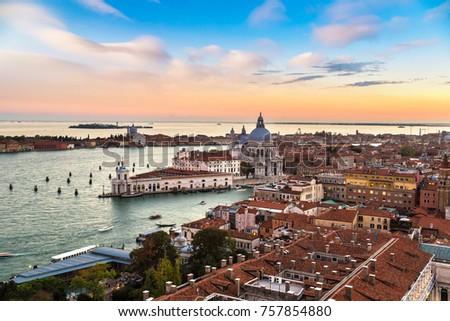 View of Basilica di Santa Maria della Salute  under sunset,Venice, Italy